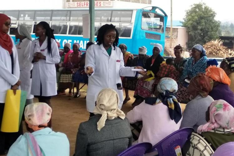 Students conducting Health Education to members of public.